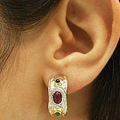 Украшения handmade. Livemaster - original item 14K Emerald Ruby Sapphire Diamond Huggie Earrings,. Handmade.