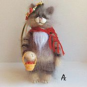 Куклы и игрушки handmade. Livemaster - original item mushrooms, berries... 17 cm interior soft knitted cat toy. Handmade.