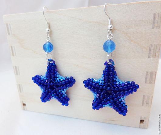 """Серьги ручной работы. Ярмарка Мастеров - ручная работа. Купить Серьги """"Морские звезды"""". Handmade. Синий, южные моря"""