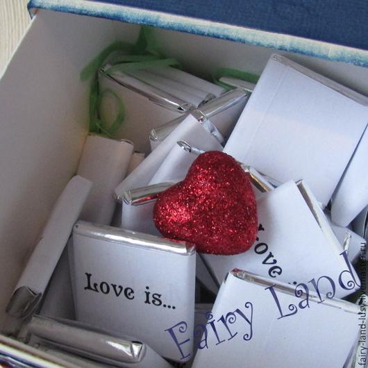"""Подарки для влюбленных ручной работы. Ярмарка Мастеров - ручная работа. Купить Сладкая коробочка """"Любовь это..."""". Handmade. Разноцветный, для девушки"""