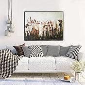 Картины и панно handmade. Livemaster - original item Hunting with dogs, oil painting on canvas. Handmade.