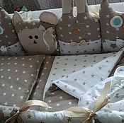 Комплекты одежды ручной работы. Ярмарка Мастеров - ручная работа Полный комплект на детскую кроватку с 6 предметов, 100% хлопок.. Handmade.