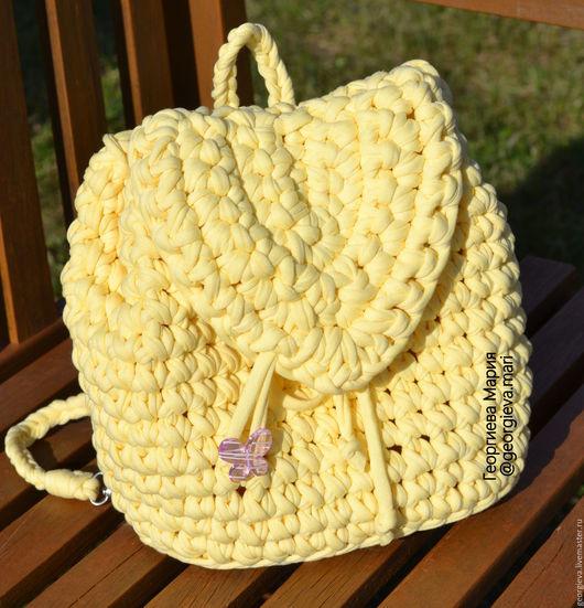 рюкзак, рюкзачок, вязаный рюкзак, желтый, лимонный, яркий, лето, летний, сумка, клатч, сумочка