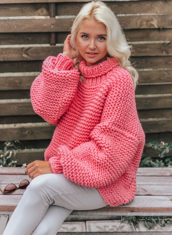 покупаешь объемный свитер крупной вязки фото пару дней