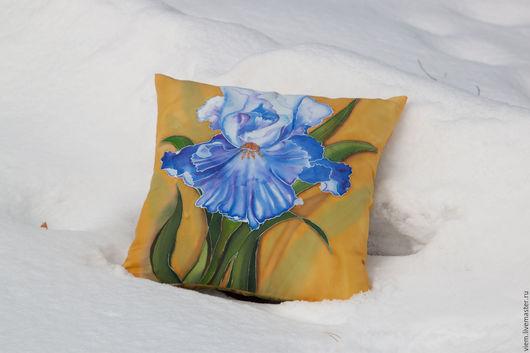 Текстиль, ковры ручной работы. Ярмарка Мастеров - ручная работа. Купить Батик подушка Ирис синий. Handmade. Подушка