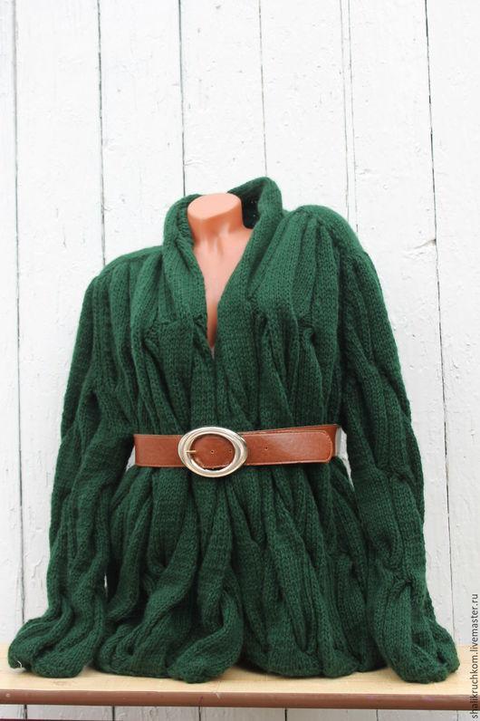 Кофты и свитера ручной работы. Ярмарка Мастеров - ручная работа. Купить Вязаный кардиган в стиле шарпей мятый косами. Handmade.