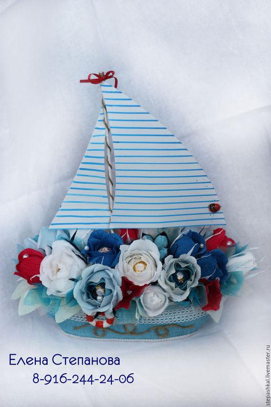 Персональные подарки ручной работы. Ярмарка Мастеров - ручная работа. Купить Парусник с конфетами (свит-дизайн). Handmade. Комбинированный