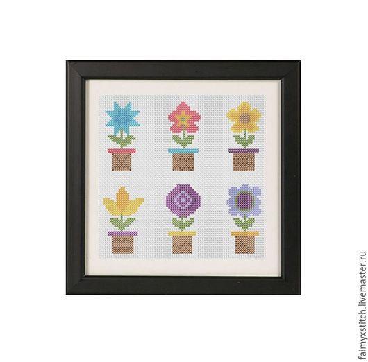 """Вышивка ручной работы. Ярмарка Мастеров - ручная работа. Купить Схема для вышивки крестом """"Цветы в горшочке"""". Handmade. Комбинированный"""