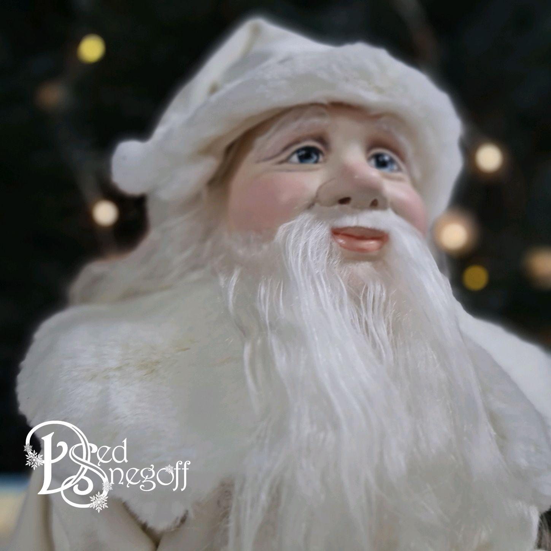 Дед Мороз 50 см Белый с серебром, Интерьерная кукла, Севастополь,  Фото №1