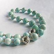 """Колье """"Небесные ласточки"""" с ларимаром,серебро 925,бусы,ожерелье"""
