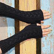 Аксессуары handmade. Livemaster - original item Long fingerless gloves with braids knit black. Handmade.