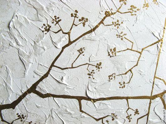 """Абстракция ручной работы. Ярмарка Мастеров - ручная работа. Купить """"Золотой лес"""" Модульная картина. Handmade. Белый, бронза"""