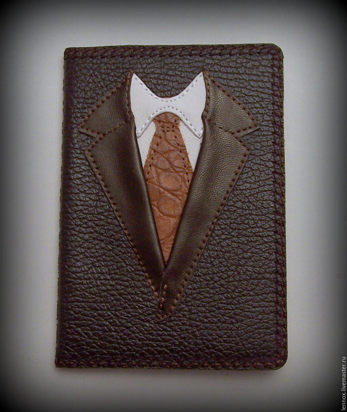 Обложка для паспорта Настоящий мужчина кожа с вышивкой, Обложка на паспорт, Санкт-Петербург,  Фото №1