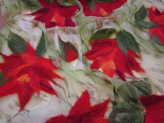"""Шали, палантины ручной работы. Ярмарка Мастеров - ручная работа. Купить Палантин """" Красные цветы"""". Handmade. Комбинированный"""
