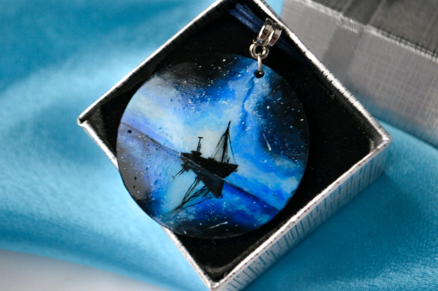 Pendant 'Starry night', painting on mother of pearl, Pendant, Ufa,  Фото №1