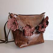 Сумки и аксессуары handmade. Livemaster - original item Bag leather women`s shoulder bag hobo small Brown bouquet. Handmade.