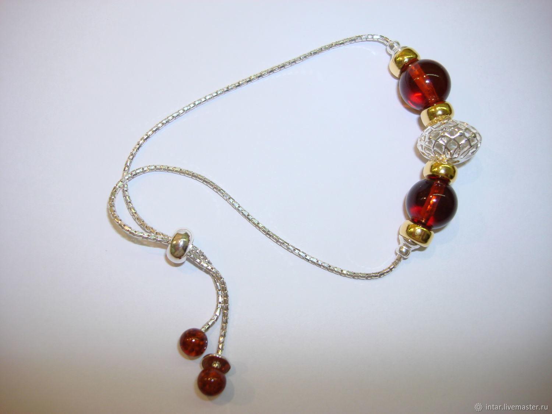 серебряный браслет 925, янтарь, Браслет из бусин, Светлогорск,  Фото №1