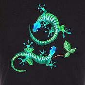 Одежда handmade. Livemaster - original item T-shirt  hand painted lizards. Handmade.