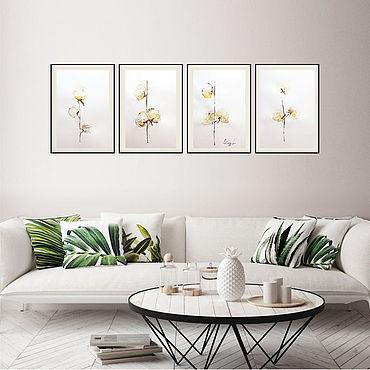 """Картины и панно ручной работы. Ярмарка Мастеров - ручная работа Триптих  Акварель  """"Хлопок"""" A3 x 4. Handmade."""