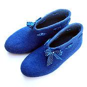 Обувь ручной работы handmade. Livemaster - original item Blue felted Slippers Cornflower blue Hello. Handmade.
