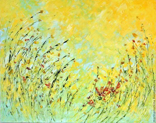 большая картина на стену, картина маслом с полевыми цветами, большая картина в интерьере, картина на стену в зал в офис в кухню в детскую, полуденная нега, современный импрессионизм, объемная фактурна