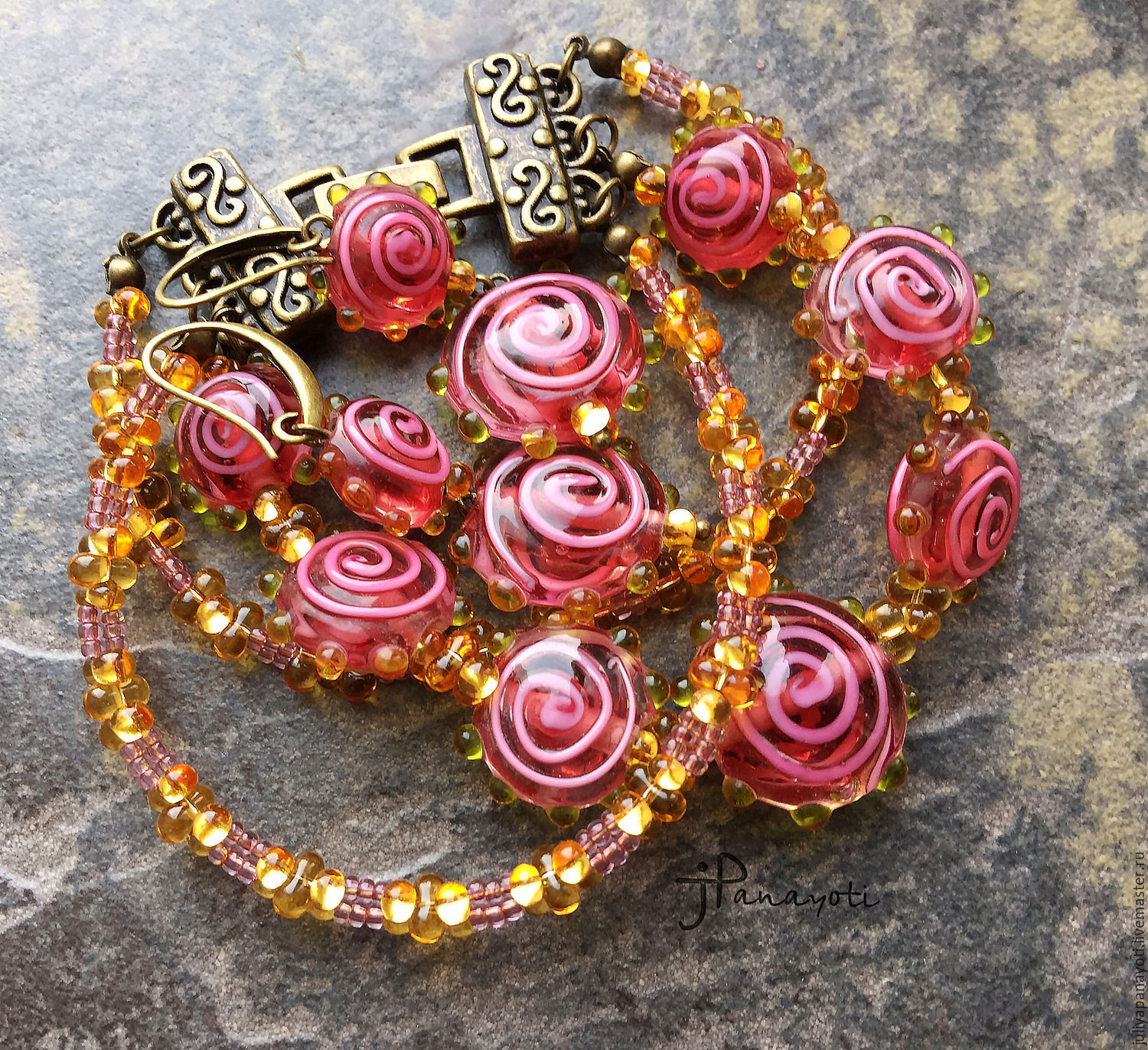 Bracelet and earrings 'Tea rose', Bead bracelet, Murmansk,  Фото №1