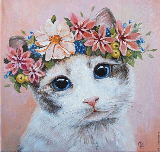 Животные ручной работы. Ярмарка Мастеров - ручная работа. Купить Кот в венке. Handmade. Бледно-розовый, кот, портрет, животнык