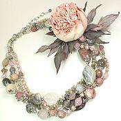 Украшения handmade. Livemaster - original item Smoky - Pink Morning. Two necklaces made of natural stones and brooch-flower. Handmade.