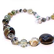 """Украшения handmade. Livemaster - original item Long necklace """"Forest nymph"""", an agate, smoky quartz, ceramics. Handmade."""