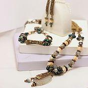 Украшения handmade. Livemaster - original item Jewelry set of the legend of Quetzalcoatl, agate, mother of pearl. Handmade.