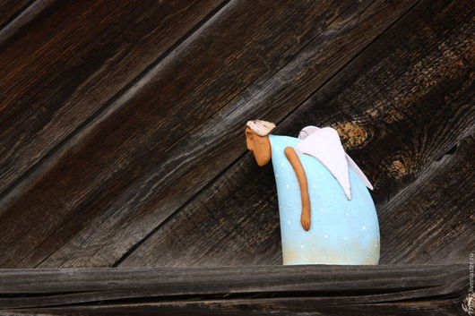"""Колокольчики ручной работы. Ярмарка Мастеров - ручная работа. Купить Колокольчик """"Когда крылья в тягость"""". Handmade. Голубой, усталость"""