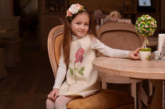 Одежда для девочек, ручной работы. Ярмарка Мастеров - ручная работа. Купить Платье валяное Имя Роза. Handmade. Белый