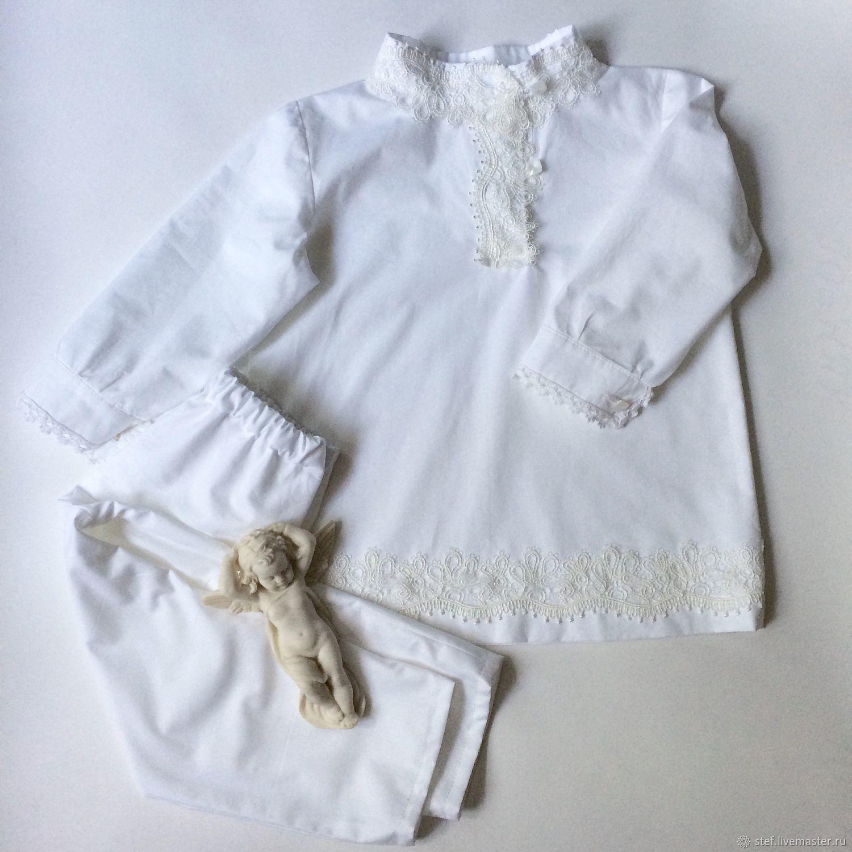 Крестильная рубашка, крестильный набор для Мальчика, Комплект для крещения, Орел,  Фото №1
