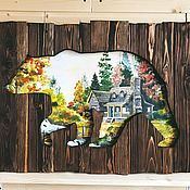 Картины и панно manualidades. Livemaster - hecho a mano Small bear picture panels of weathered boards. Handmade.