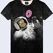 """Одежда ручной работы. Ярмарка Мастеров - ручная работа Мужская футболка """"Гомер в космосе"""". Handmade."""