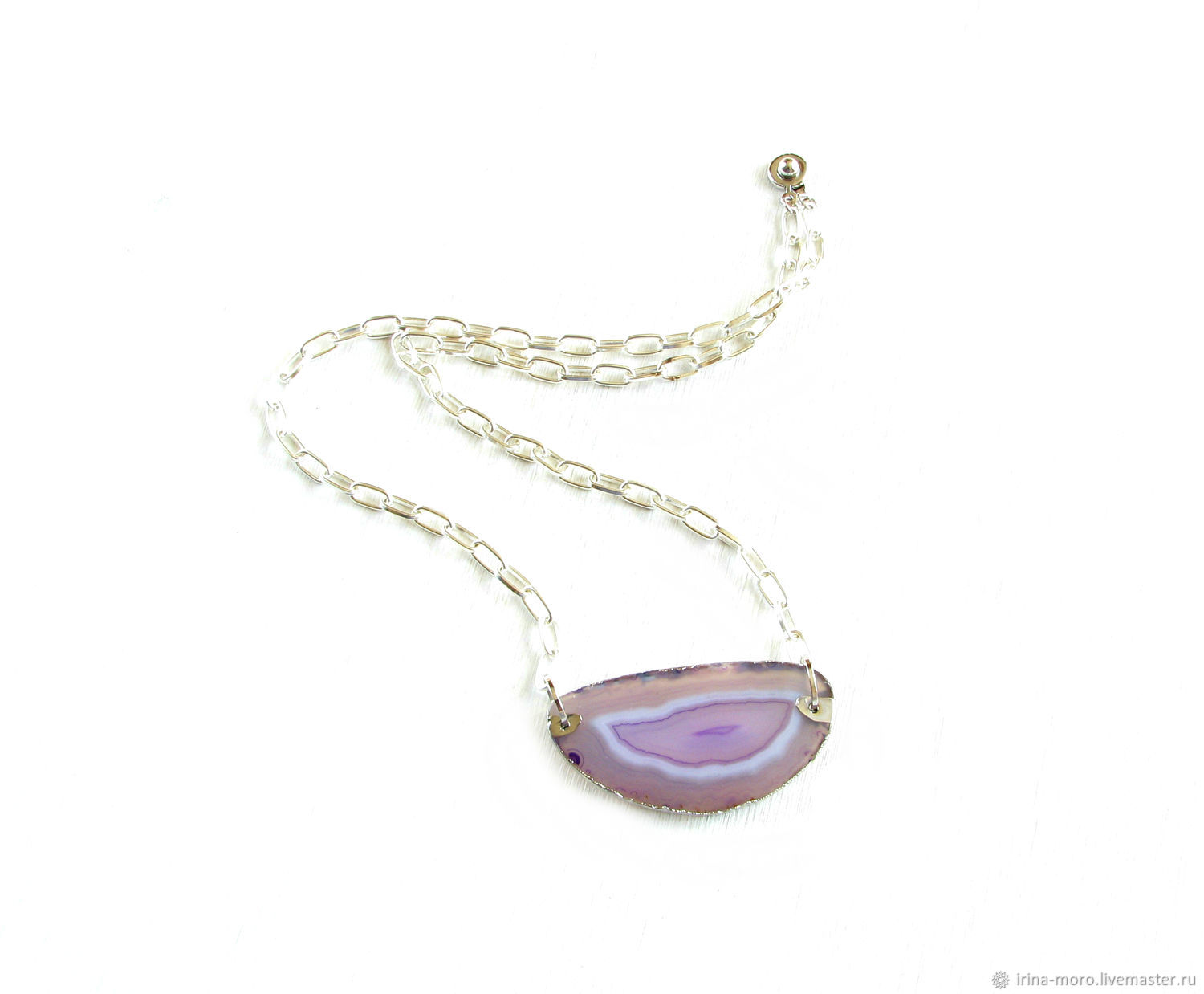 Agate pendant 'Lilac island' lilac pendant on a chain, Pendants, Moscow,  Фото №1