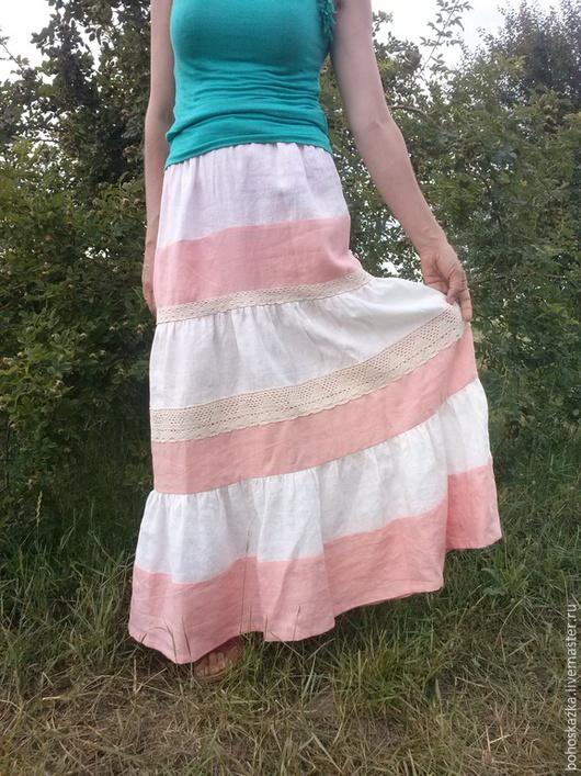 Юбки ручной работы. Ярмарка Мастеров - ручная работа. Купить Летняя юбка из 100% льна. Handmade. Бледно-розовый, двухцветный