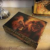 """Для дома и интерьера ручной работы. Ярмарка Мастеров - ручная работа Шкатулка  """"Lion"""". Шкатулка декупаж. Handmade."""
