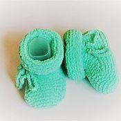 Работы для детей, handmade. Livemaster - original item Plush booties with ties. Handmade.