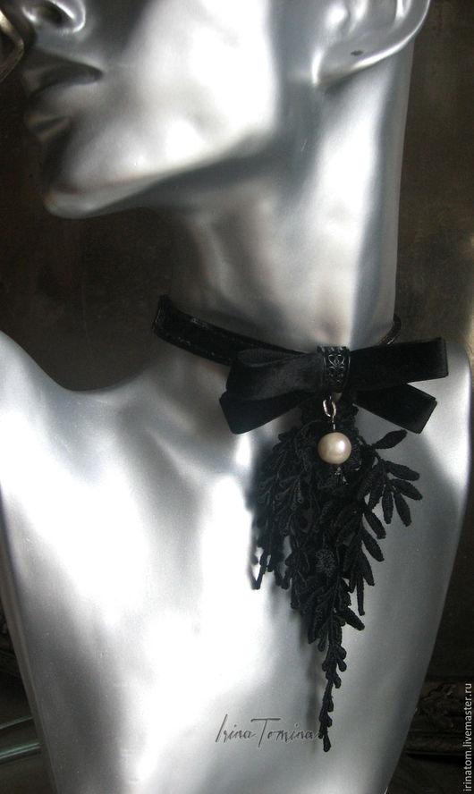 Колье, бусы ручной работы. Ярмарка Мастеров - ручная работа. Купить Чокер -колье с подвеской из кружева и бархата. Handmade. Черный