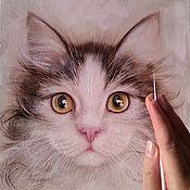 Картины и панно handmade. Livemaster - original item Oil painting a Gentle portrait of a cat. Handmade.