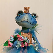 Dolls handmade. Livemaster - original item Blue frog ballerina. textile doll. reserve.. Handmade.