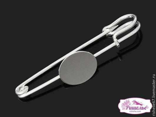 Для украшений ручной работы. Ярмарка Мастеров - ручная работа. Купить Основа для брошей круглая серебряный тон (для 16.0мм Кабошона), 5,7 см. Handmade.