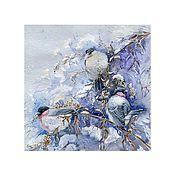 """Картины и панно ручной работы. Ярмарка Мастеров - ручная работа Принт """"Морозные травы"""" Уссурийские снегири. Handmade."""