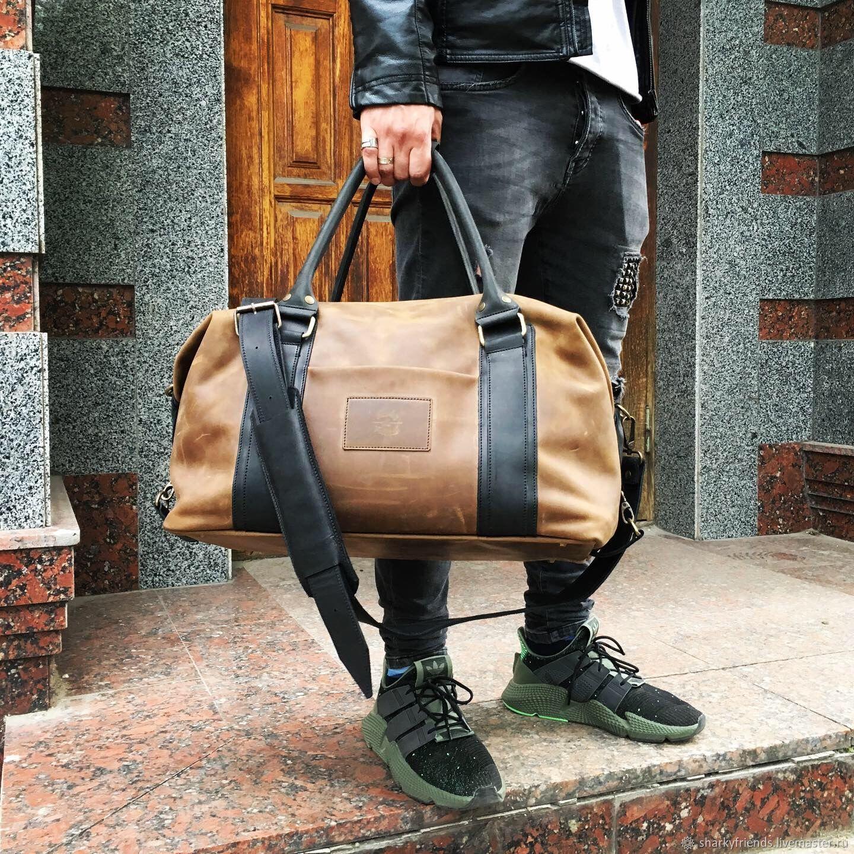 Дорожная сумка в военном стиле. Спортивная кожаная сумка, Спортивная сумка, Днепр,  Фото №1