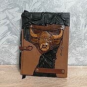 handmade. Livemaster - original item Leather diary. A symbol of health and wealth. The Bull and the Key. Handmade.