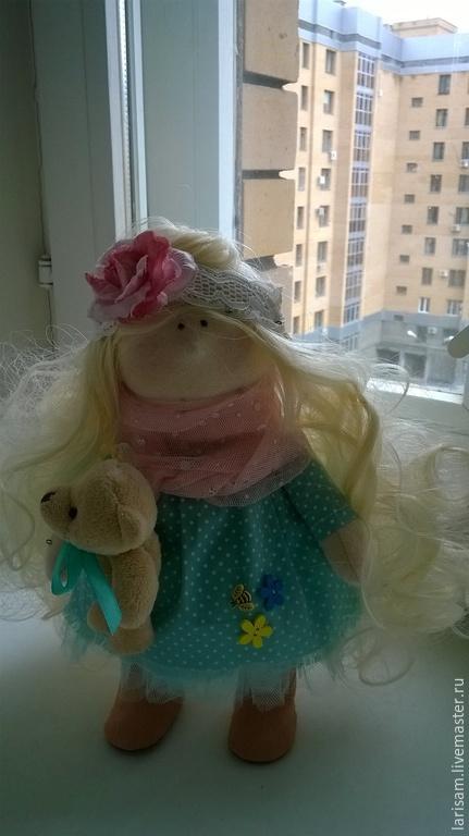 Коллекционные куклы ручной работы. Ярмарка Мастеров - ручная работа. Купить Малышка. Handmade. Бирюзовый, кукла ручной работы, хлопок