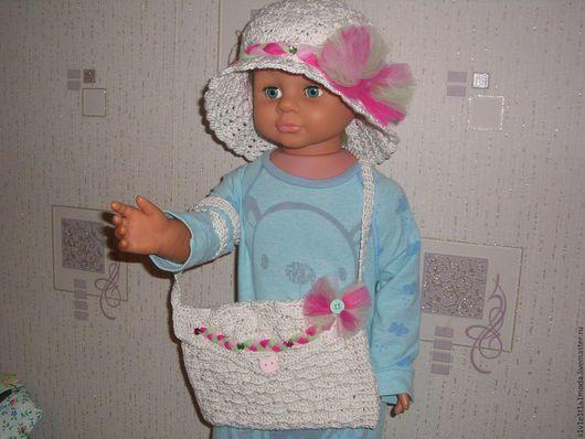 Шапки и шарфы ручной работы. Ярмарка Мастеров - ручная работа. Купить Комплект шляпка-панамка и сумочка для девочки. Handmade. Бежевый