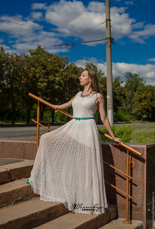 """Платья ручной работы. Ярмарка Мастеров - ручная работа. Купить Платье вязаное спицами - """"Анфея"""". Handmade. Белый, вязание спицами"""