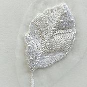 Аппликации ручной работы. Ярмарка Мастеров - ручная работа Аппликации: Люневильская вышивка Белый Листик 18 долларов. Handmade.